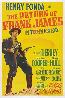 THE RETURN OF FRANK JAMES Movie POSTER 27x40 B Henry Fonda Gene Tierney Jackie