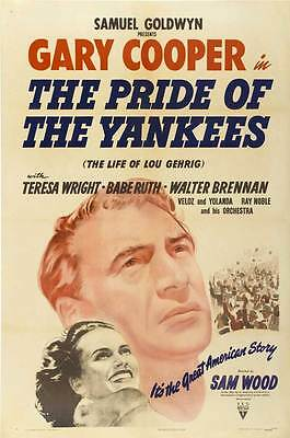 THE PRIDE OF THE YANKEES Movie POSTER 27x40 C Gary Cooper Teresa Wright Babe