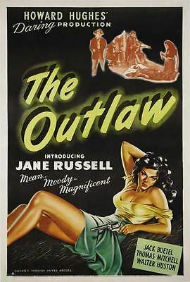 THE OUTLAW Movie POSTER 27x40 E Jane Russell Jack Buetel Walter Huston Thomas