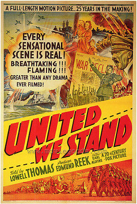 UNITED WE STAND Movie POSTER 27x40 Lowell Thomas