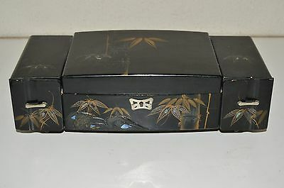 Vintage Painted Black Wooden Asian Ornate Working Music Jewelry Box w/ Key Rare