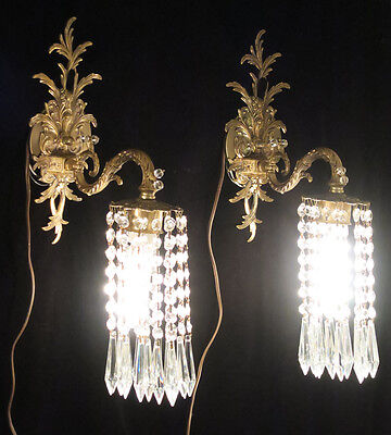 2 ROCOCO Vintage Sconce French Brass bronze fountain waterfall Crystal lamp