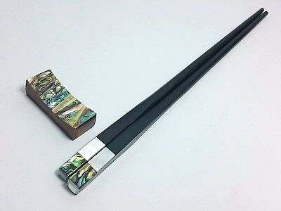 Ebony Wood Chopsticks With Abalone Shell Chopsticks Rest 10 ''