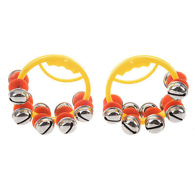 """SODIAL(R) 2 Pcs 3"""" Dia Frame 10 Metal Bell Tambourine Handbell for Child CT"""