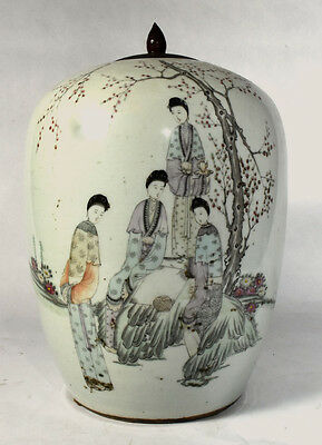 Antique Chinese Porcelain Melon Jar with Hand Painted Female Figures - Wood Lid