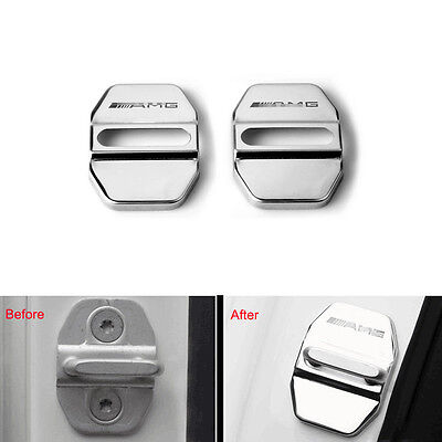 2x Antirust Steel Car Door Lock Protect Cover Trim For AMG A B C E M S GLK Class
