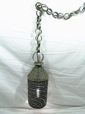 Early Punched Tin Chandelier Porch Light Folk Art Sheet Metal Candle Lantern