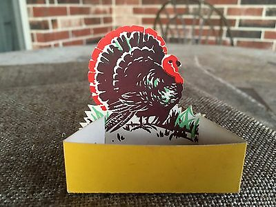 Vintage 1930's Place Card Thanksgiving Turkey Die Cut Candy Container, Nut Cup