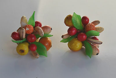 Big Vintage WWII fruits bouquet earrings papier mache green molded plastic leaf