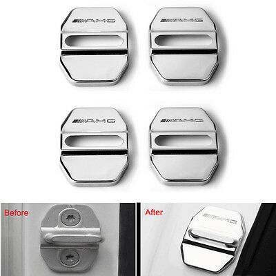 For AMG A B C E M S GLK Class Car Auto Antirust Door Lock Buckle Cover Trim 4Pcs