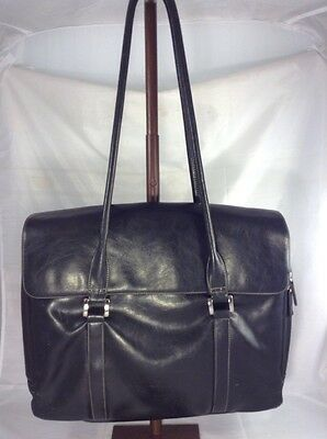 Womens Buxton Black Vegan Leather Office Laptop Briefcase Tote Bag