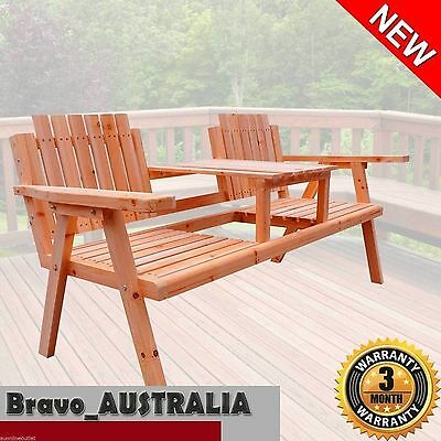 Garden Park Bench Seat Outdoor Balcony BBQ Area Chair with Centre Table Timber