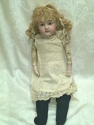 """Antique Bisque Head Leather Body Doll Germany 24"""" $149.99"""