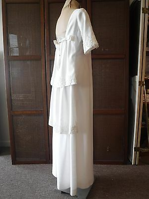Vintage Emma Domb Tiered Back White Wedding Gown Dress Small Medium 1960s