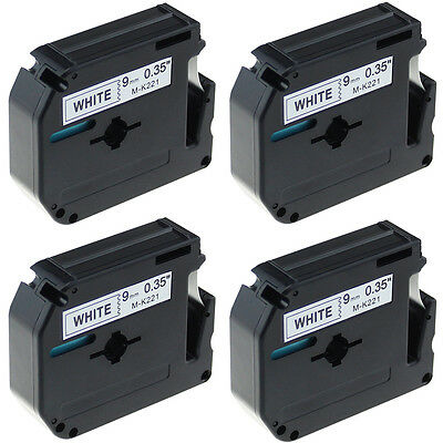 4 Compatible For Brother P-touch PT80 PT90 M-221 MK221 Black on White Label Tape