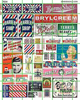 7034 Dave's Decals Ho Scale Barber Shop Beauty Salon Signs Signage Combine Ship!