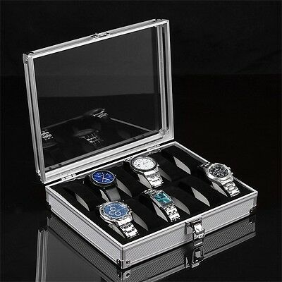 Aluminium Square Jewelry 12 Grid Slots Watches Display Storage Box Case RD