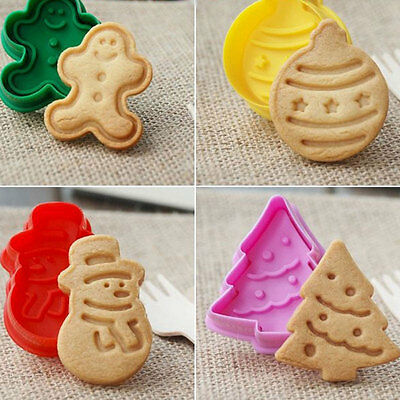 4pcs Christmas Cookie Biscuit Cutter Set Bread Fondant Cake Mold Baking Tool Set