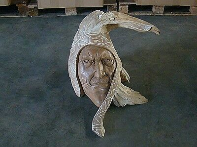 Detailed Hand Carved Teak Root Indian Face Chief Cowboys #007