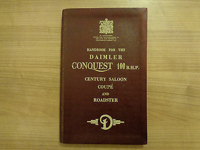 Daimler Conquest 100 B.H.P Century Saloon/Coupe/RoadsterOwners Handbook/Manual