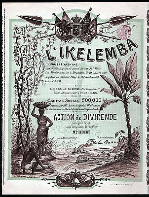 1898 Belgian Congo, Africa: l'Ikelemba Societe Anonyme - with all coupons