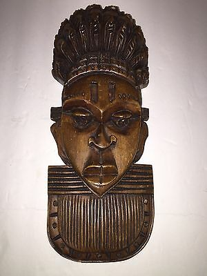 Vintage African Tribal Ethnic Art Wood Carving Face Mask Wall Hanging Folk