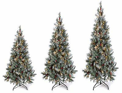 Deluxe 5ft 6ft 7ft Pre-Lit LED Scandinavian Christmas Tree Pine Cone Decor Xmas
