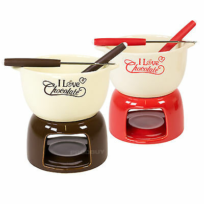 Ceramic Chocolate Cheese Fondue Set Pot Gift with 2 Stainless Steel Fork Burner