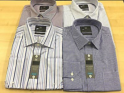 Ex M&S  PURE COTTON Mens CHECK&STRIPE Shirt Long Sleeve Non Iron Performance