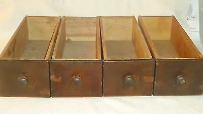 "4 Antique Vintage  Sewing Machine Wood Treadle Drawers parts 4 1/4"" X 12 X 3 1/2"