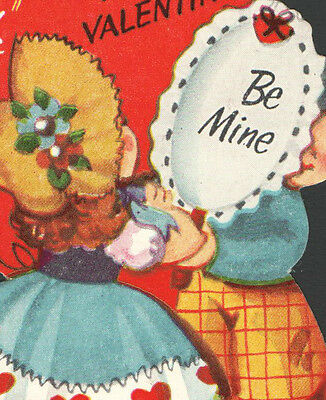 Vintage Childs Valentines Day Card Boy Holding Mirror You LOOK GOOD To Me 1955
