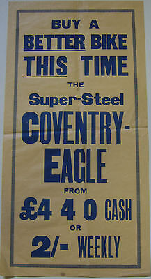 Coventry Eagle Bicycle Original Cycling Poster circa 1930s unillustrated