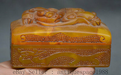 9CM Old China Shoushan Stone Palace Kylin Qilin Imperial Seal Stamp Pair Box