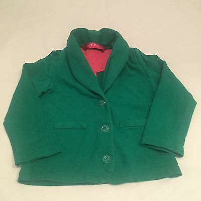 Green cotton blazer jacket with gem like buttons girls 3 years-I combine postage