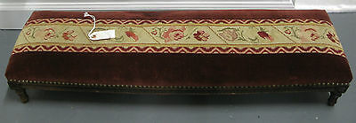 19th C. FRENCH ANTIQUE RARE LONG FOOTSTOOL WITH  TAPISSERIE