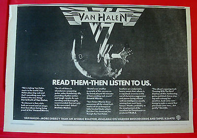 "Van Halen Self-Titled Debut Vintage ORIGINAL 1978 Press/Magazine ADVERT 13""x 9"""