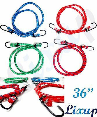 """2 x 24/"""" 61cm Bungee Cords Straps Elasticated Strong Rope Hooks Luggage Car Rack"""
