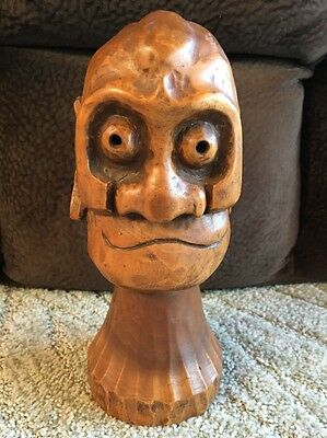 Hand Carved Bust Of Man Solid Wood