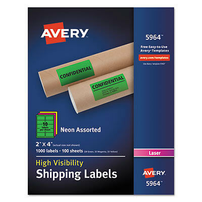 Neon Shipping Label, Laser, 2 x 4, Neon Assorted, 1000/Box 5964