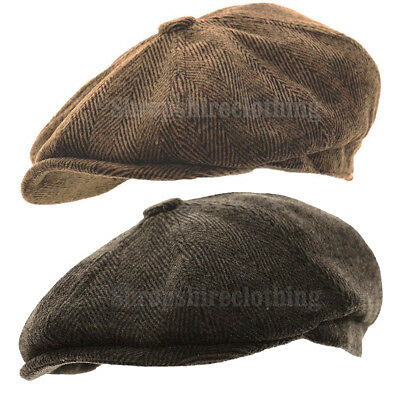Mens Herringbone Baker Boy Caps Newsboy Hat Country Peaky Blinder Style Flat Cap