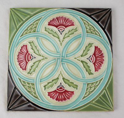 Original Art Nouveau Tile by Danto Kaisha Thistle & Intersecting Circles L1A