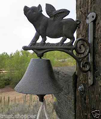 Flying Pig Bell Cast Iron Animals Call Bells Farm Outdoor Decor Collectibles