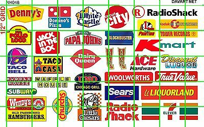 NH048 DAVE'S DECALS 1/2 Set N SCALE MIXED FAST FOOD & HOTEL MOTEL SIGNS MODERN