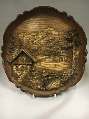 Vintage Carved Wood Resin 3D Wall Plate Plaque SIC?