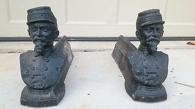 Antique 19th Century Cast Iron Andiron Fire Dogs Pair General Soldier Bust