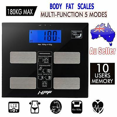 HPF Digital Body Fat Bathroom Scales Gym Weight Glass Water LCD Electronic Aus