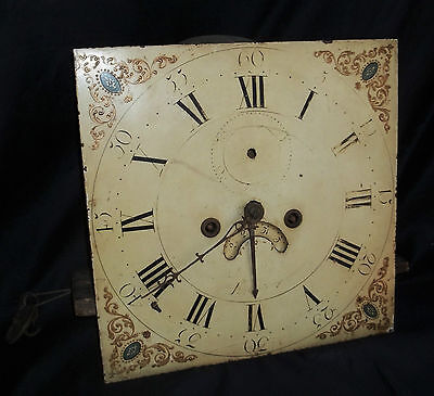 Nice 12in 8 Day Grandfather Clock Movement & Dial. False Plate Signed Wilson