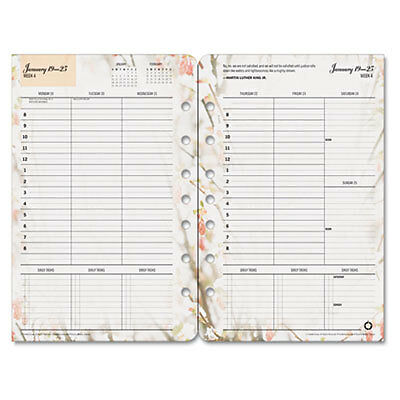 Blooms Dated Weekly/Monthly Planner Refill, Jan.-Dec., 5 1/2 x 8 1/2, 2017 35448