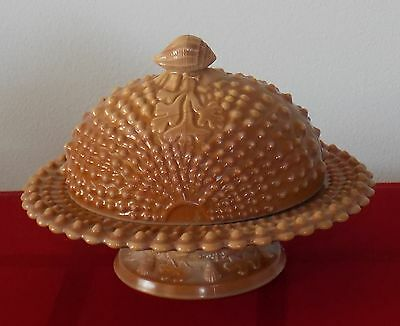 Early Unmarked Argonaut Shell Chocolate Slag Glass Covered Butter Dish