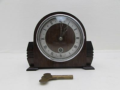 1940's Petite 8 Day Timepiece Mantel Clock Oak Frame Davall Movement